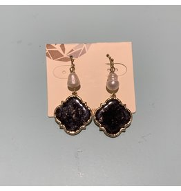 BLACK MARBLE RESIN DROP WITH PEARL EARRING