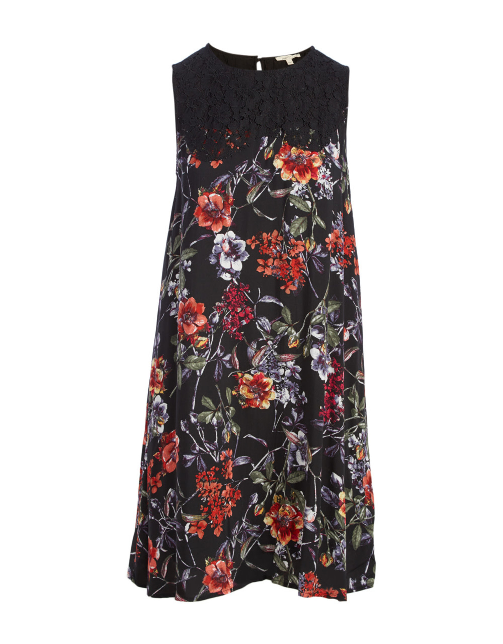 BLACK FLORAL LACE YOKE SLEEVELESS DRESS