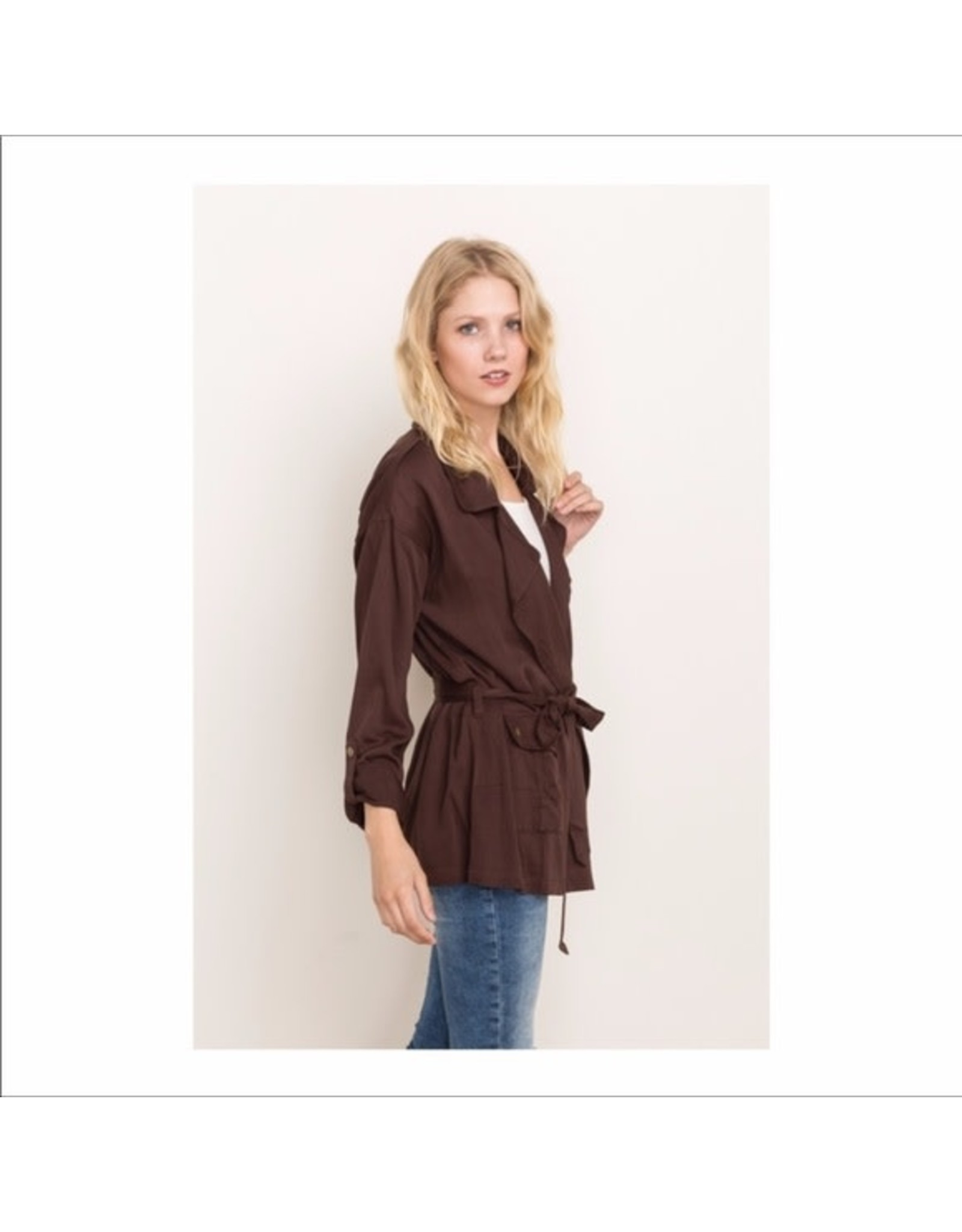 BROWN TENCEL SOFT UTILITY JACKET