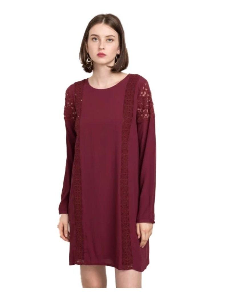 Mystree Burgundy Lace Trim Long Sleeve Shift Dress