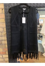 BLACK KNIT VEST WITH LEATHER FRINGE
