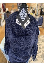 NAVY CHENILLE WIDE NECK SWEATER WITH FRINGE SLEEVE