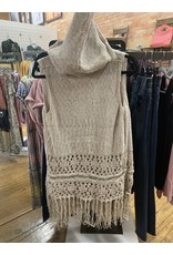 TAN HOODED CROCHET KNIT VEST WITH FRINGE
