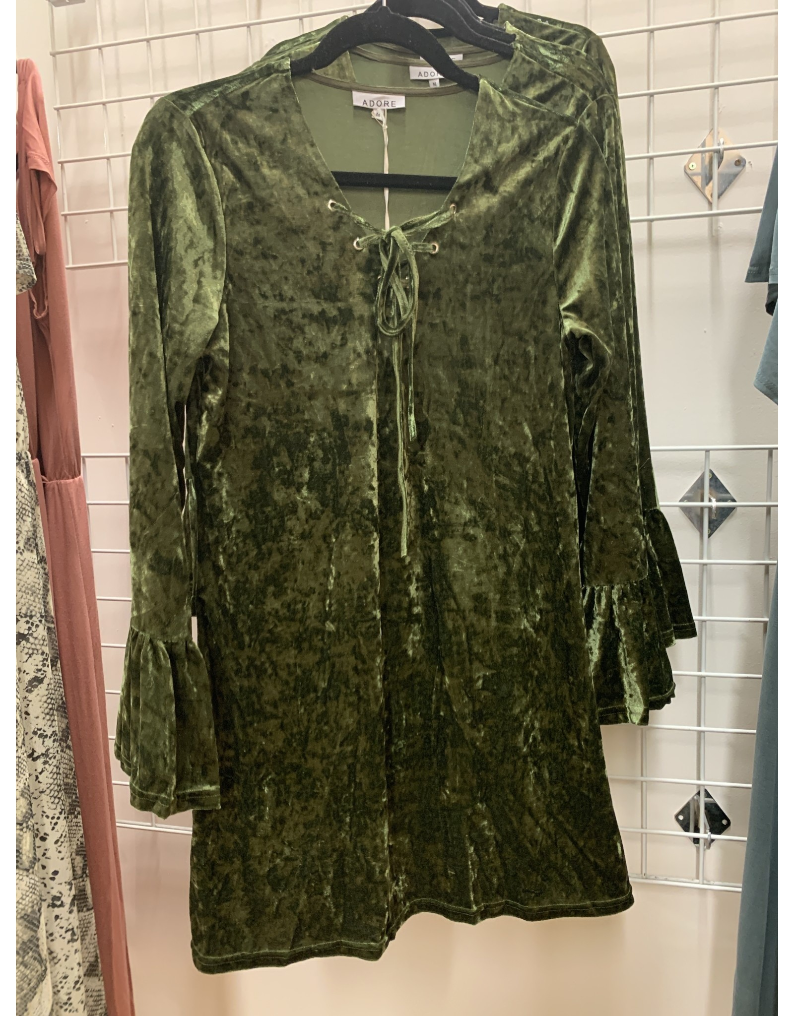 GREEN VELVET DRESS WITH LACE UP NECK AND BELL SLEEVES