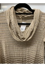 TAN STRIPED OMBRE DYE COWL NECK KNIT SWEATER
