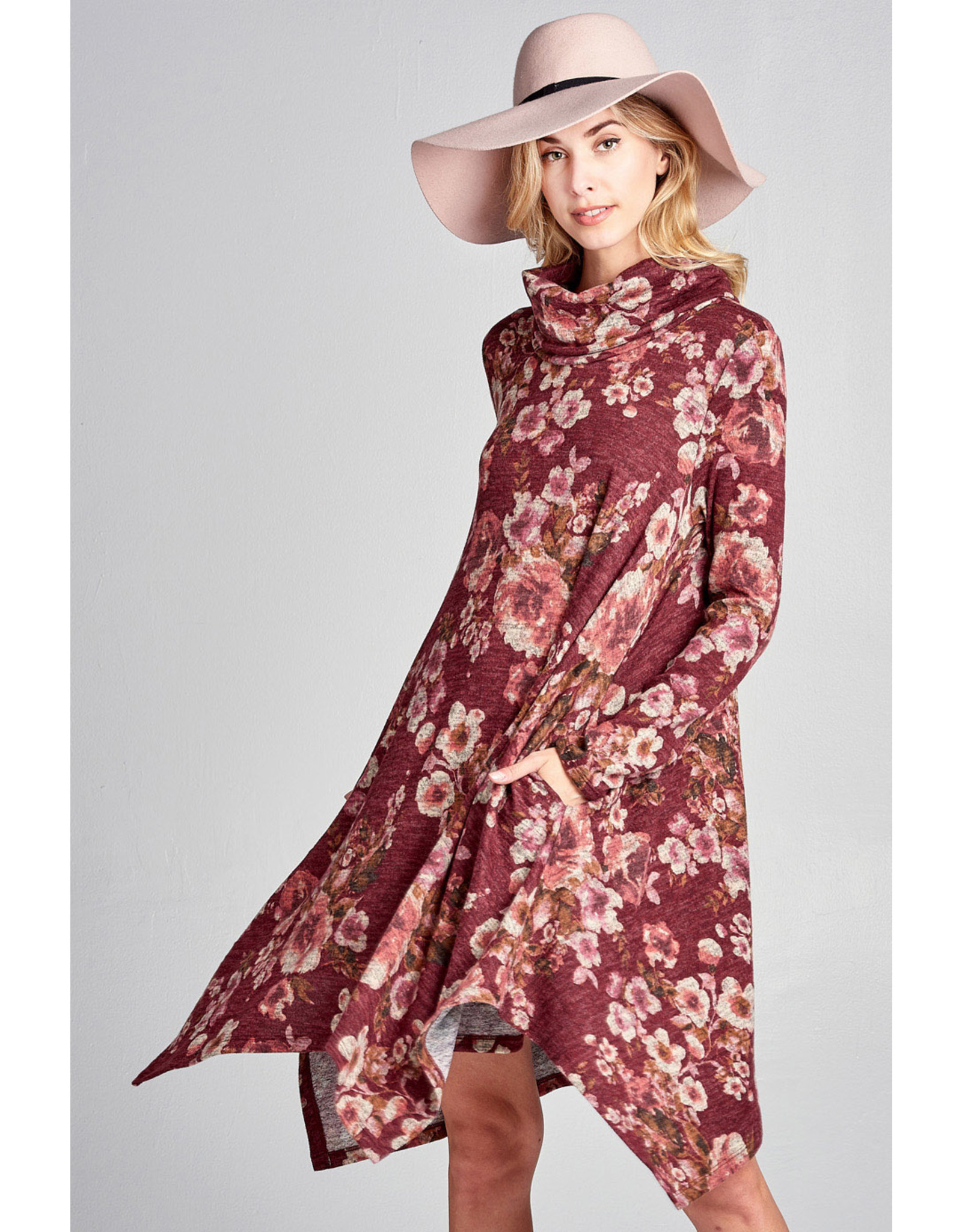 BURGUNDY FLORAL LONG SLEEVE DRESS WITH COWL NECK