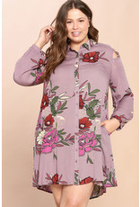 LT PURPLE FLORAL PRINT SHIRT DRESS