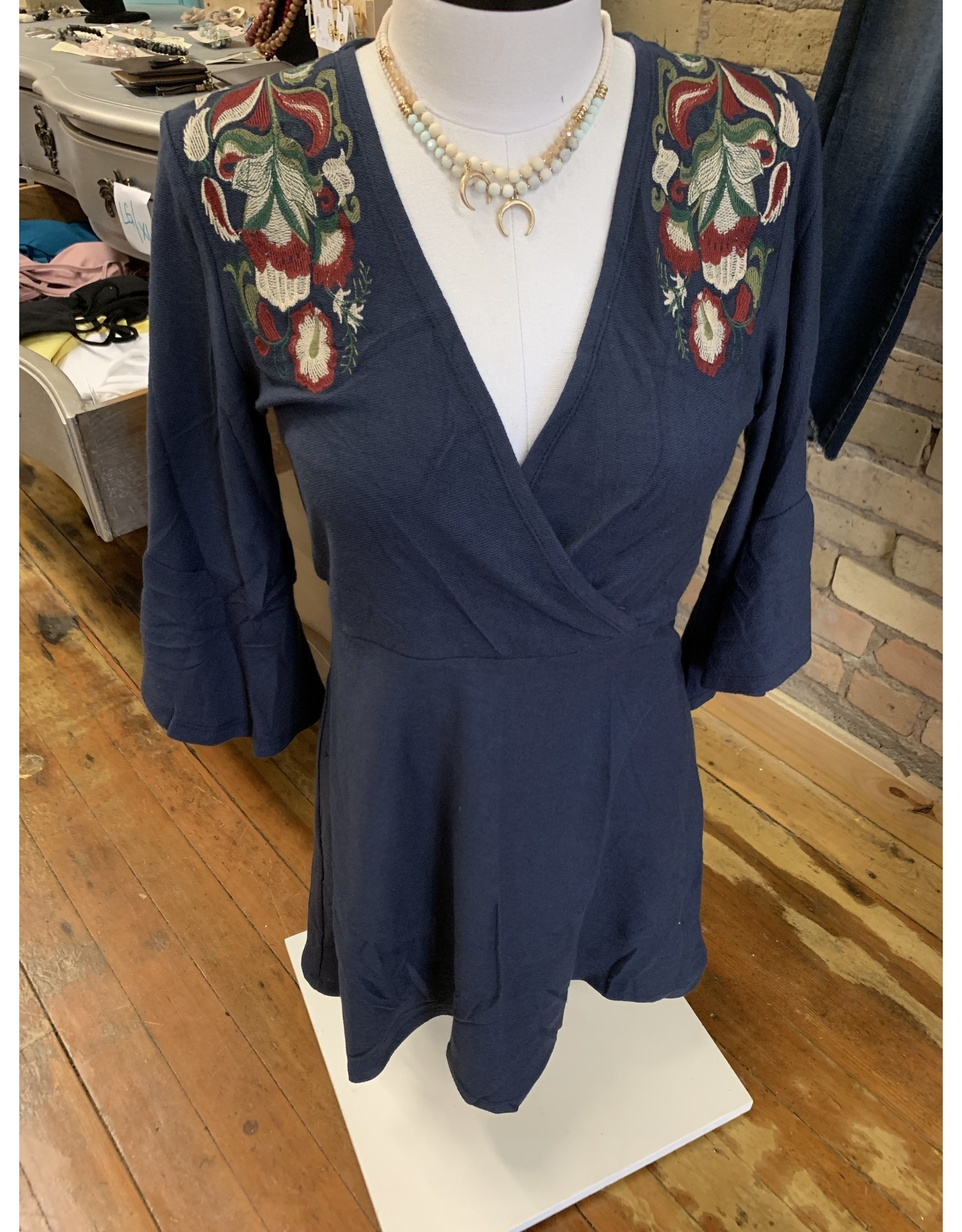 NAVY EMBROIDERED KNIT RUFFLE 3/4 SLEEVE WRAP DRESS