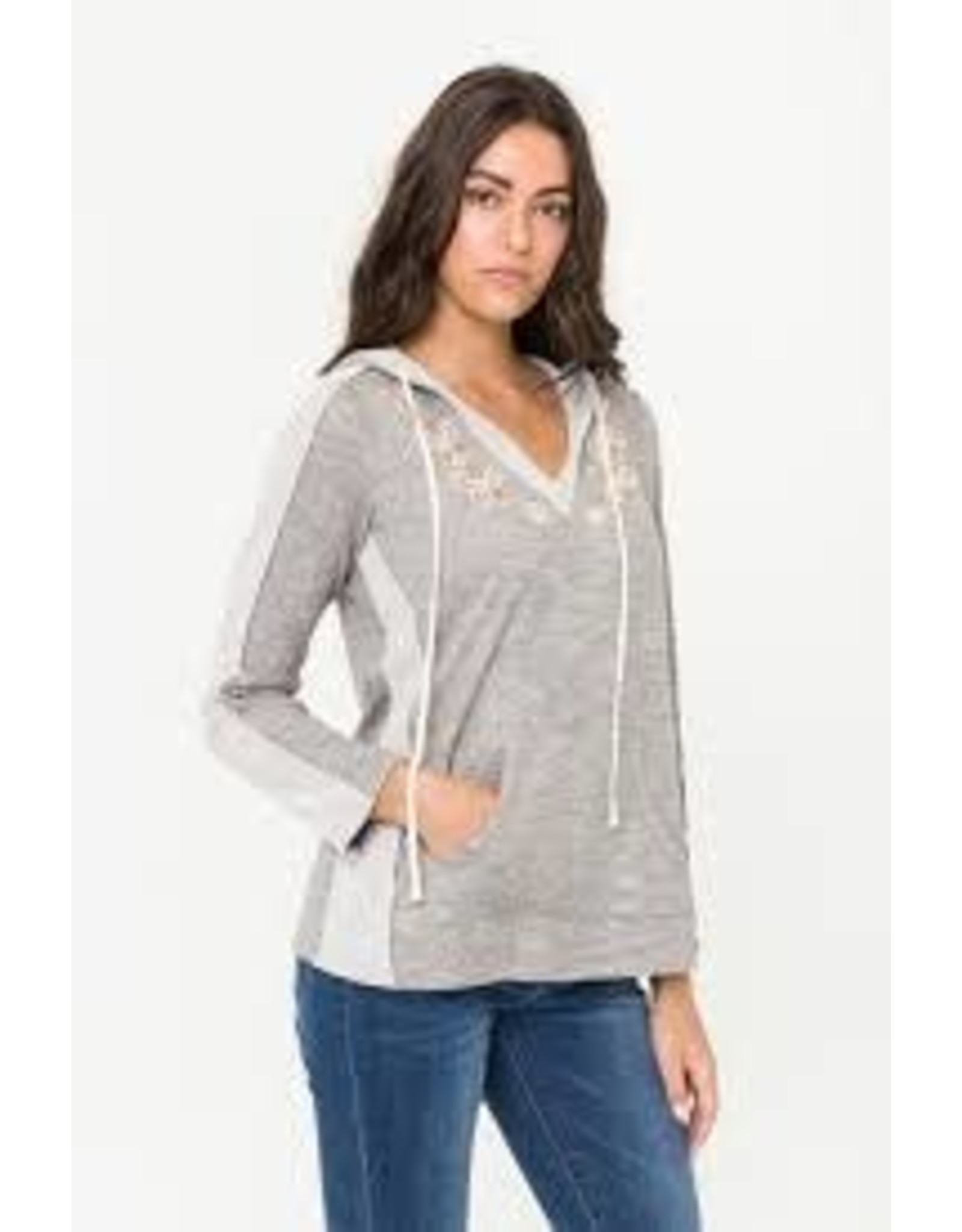 GREY PINK EMBROIDERED FRONT DETAIL HOODED PULLOVER