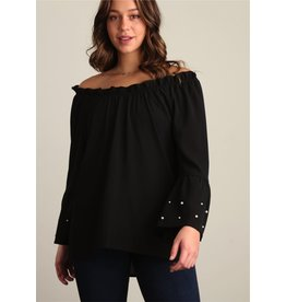 BLACK PEARL ACCENT BELL SLEEVE BLOUSE