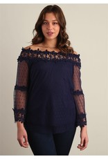 NAVY MESH BELL SLEEVE BLOUSE WITH CROCHET LACE ACCENTS