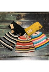 CC ASSORTED STRIPED BEANIE - 3 COLORS -