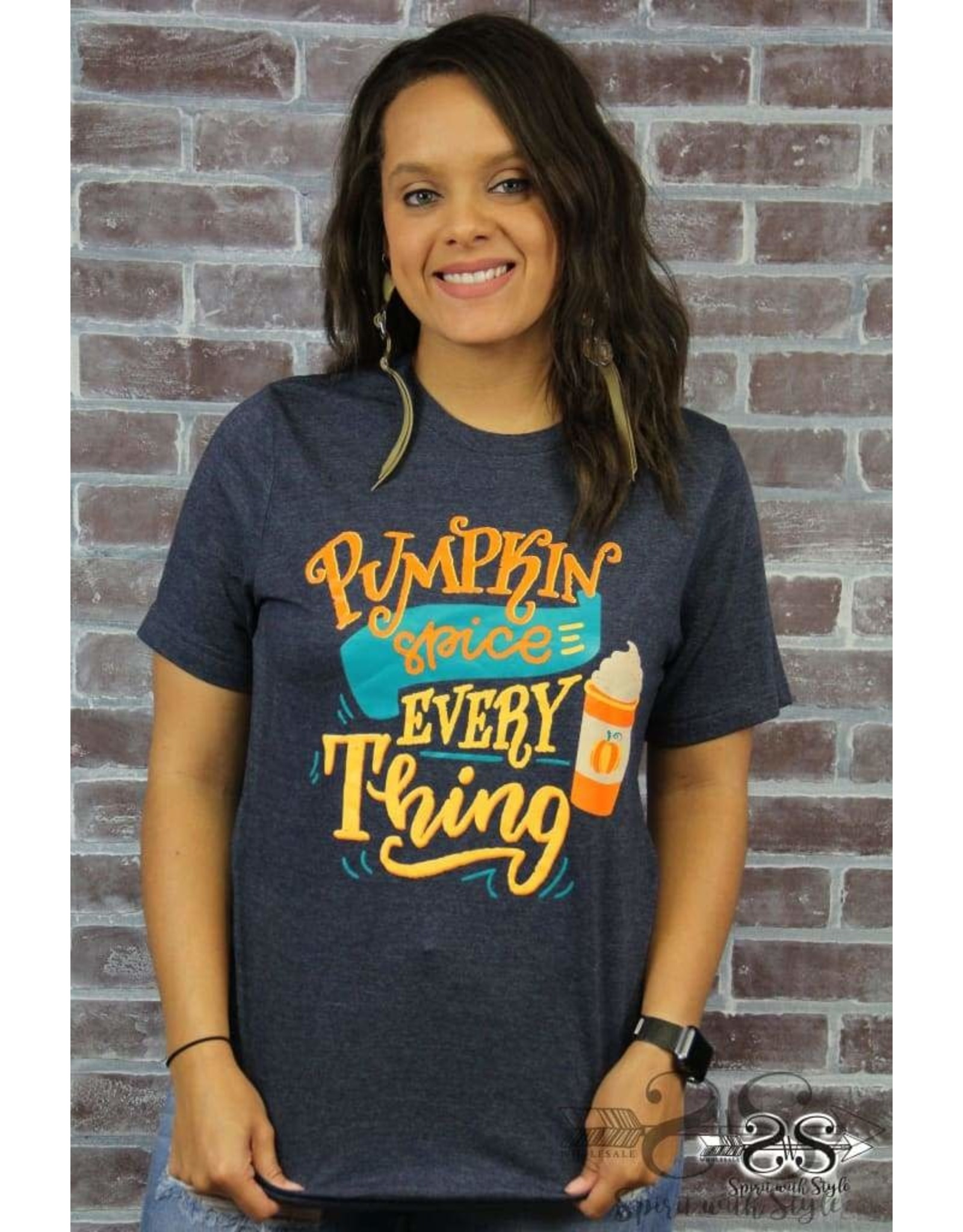 HEATHERED NAVY PUMPKIN SPICE EVERYTHING T-SHIRT