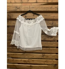 WHITE MESH BELL SLEEVE BLOUSE WITH CROCHET LACE ACCENTS