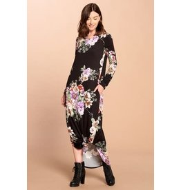 BLACK FLORAL LONG SLEEVE MAXI DRESS