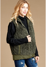 OLIVE QUILTED FAUX FUR HOODED ZIP SIDE VEST