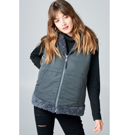CHARCOAL QUILTED FAUX FUR HOODED ZIP SIDE VEST