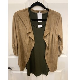 TAN SUEDE CROP BLAZER WITH RUCHED SLEEVE ACCENT