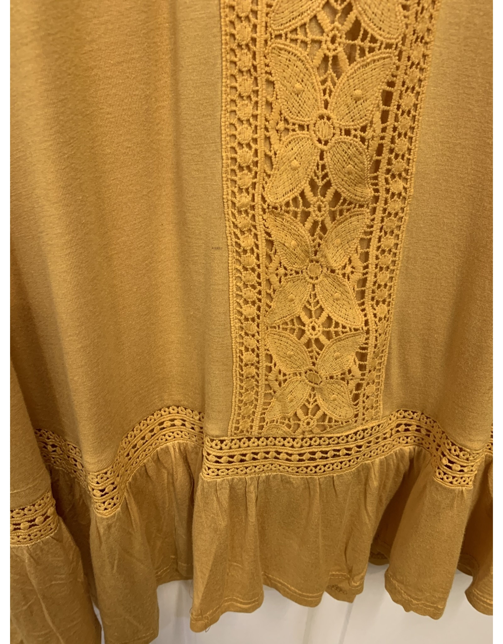 MUSTARD CROCHET DETAIL ROUND CUTOUT NECK LONG SLEEVE BLOUSE