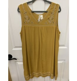 MUSTARD SOLID COLOR SLEEVELESS DRESS WITH GOLD EMBROIDERED DETAIL