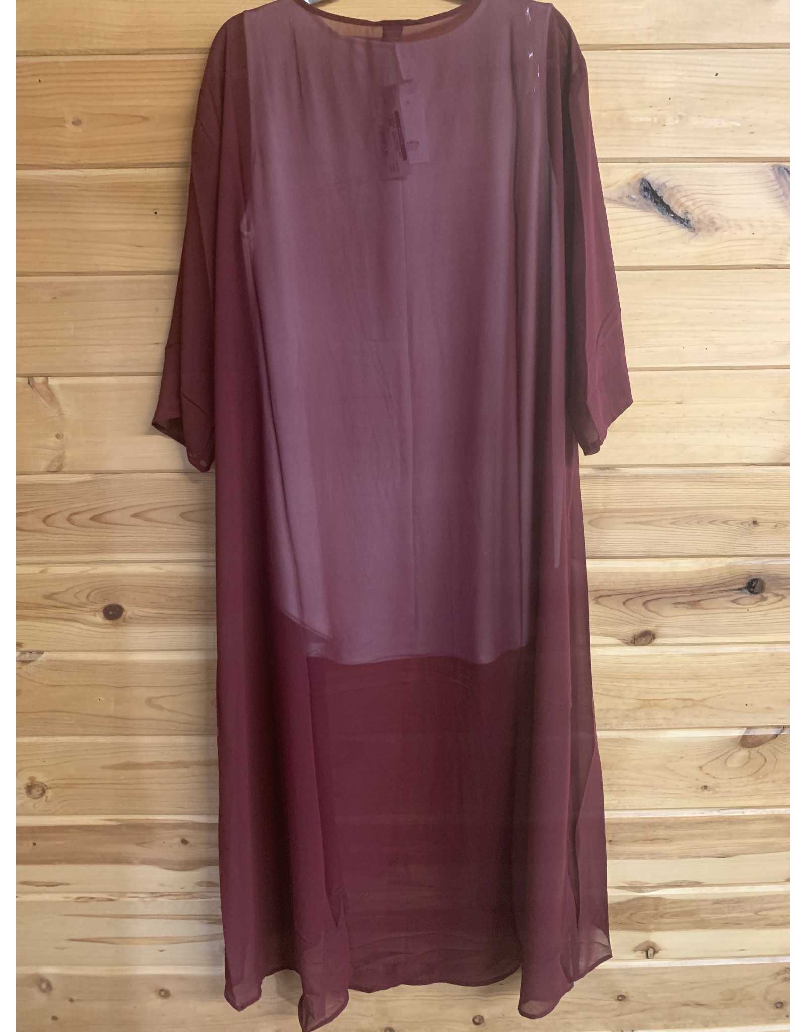 SOLID BURGUNDY LONG KIMONO ONE SIZE