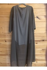 SOLID OLIVE BROWN LONG KIMONO ONE SIZE