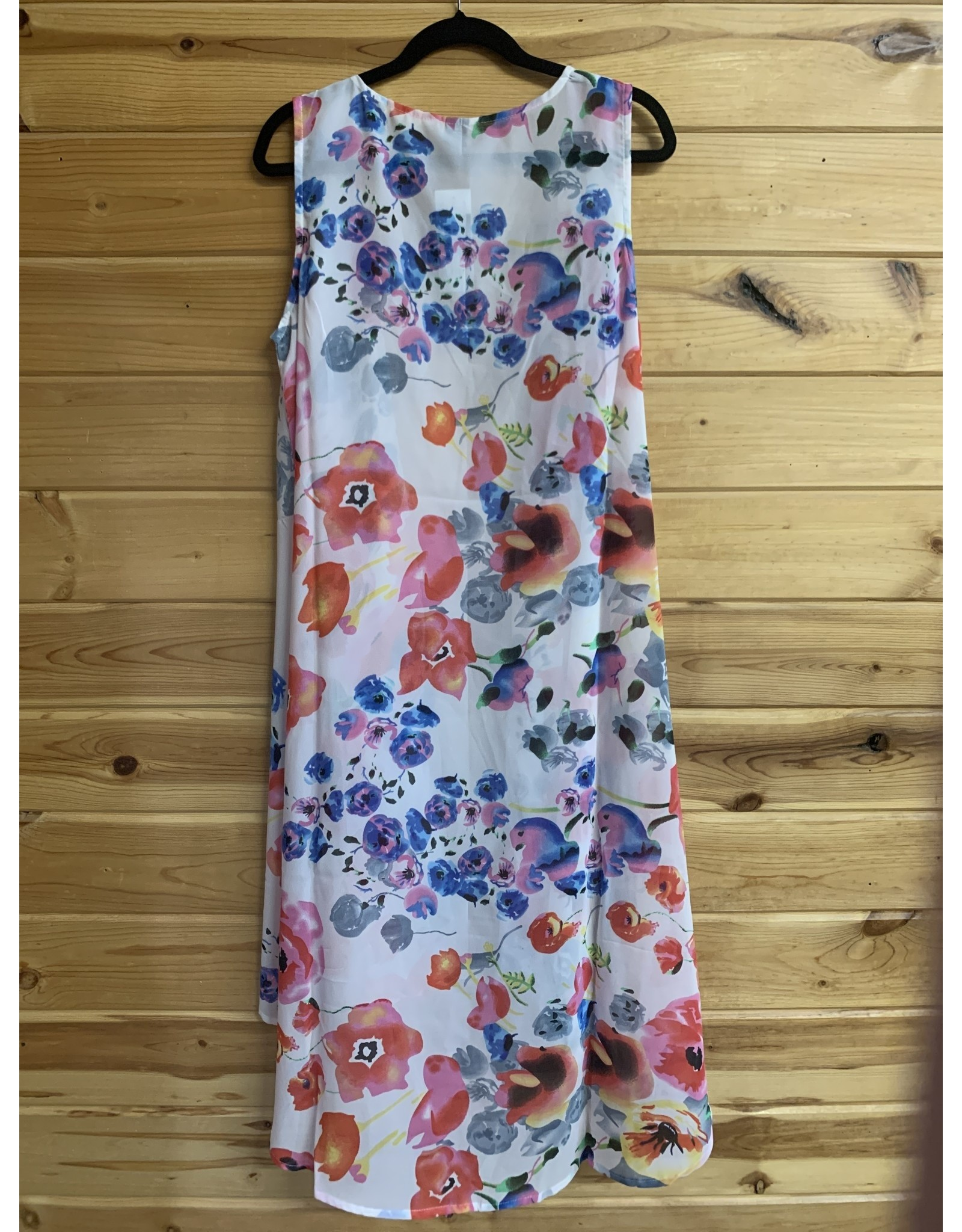 WHITE WATERCOLOR FLORAL LONG DUSTER VEST ONE SIZE