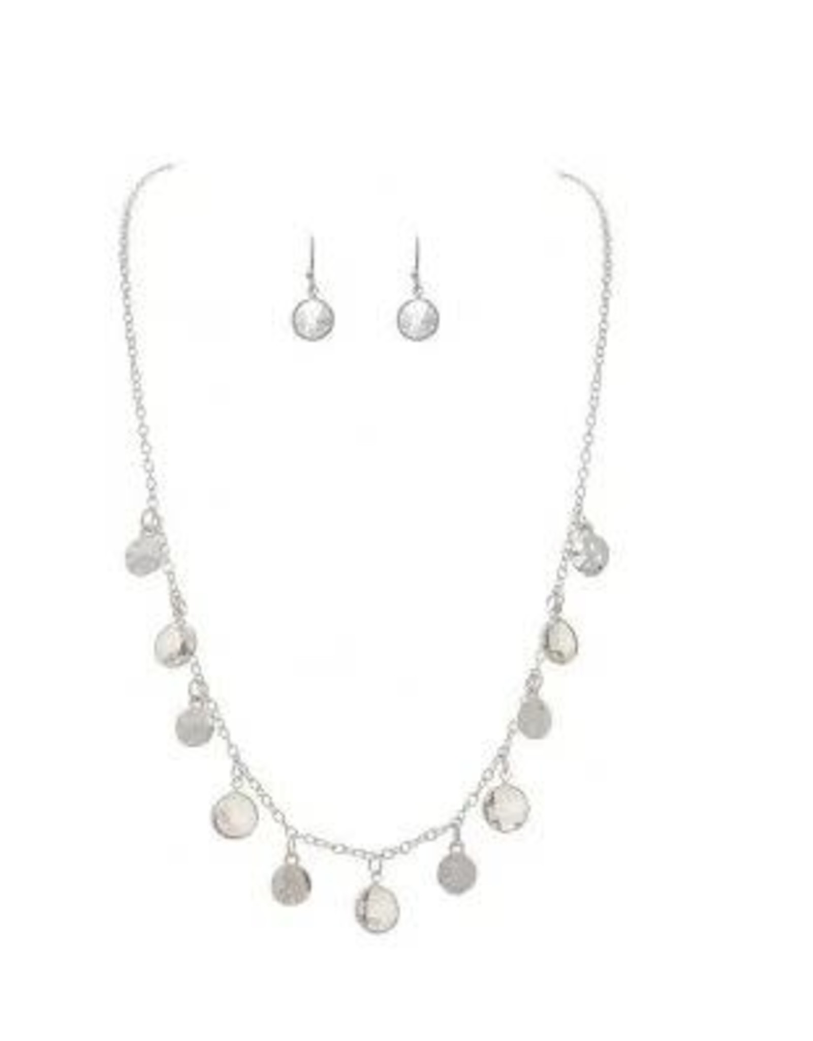 SILVER DISCS AND CRYSTAL DROPS NECKLACE SET