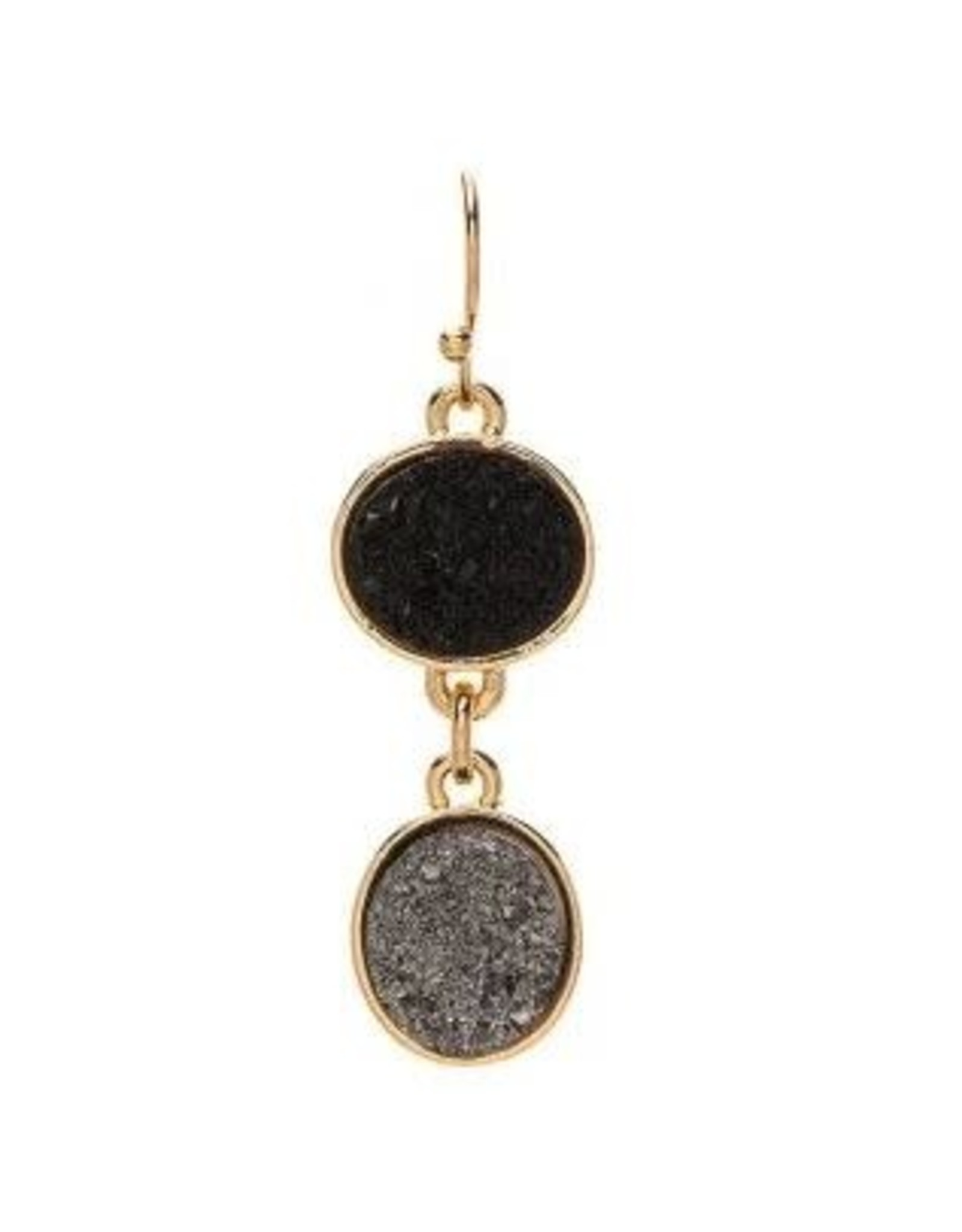 SILVER TWO DROP DRUZY EARRING