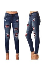 BUFFALO PLAID PATCH DESTRUCTED SKINNY JEAN