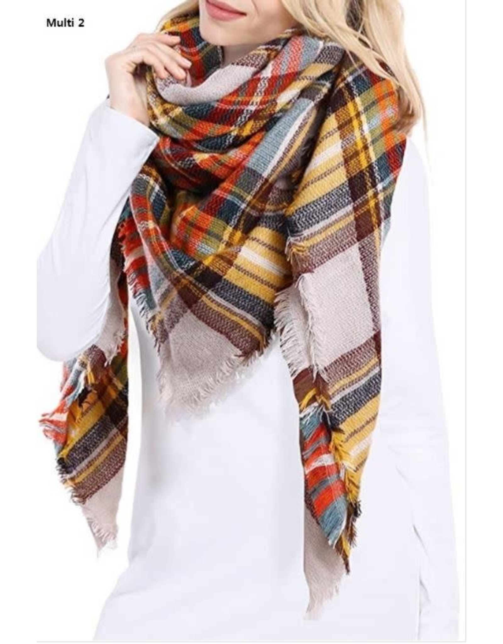 PLAID OVERSIZED BLANKET SCARF 54X54IN