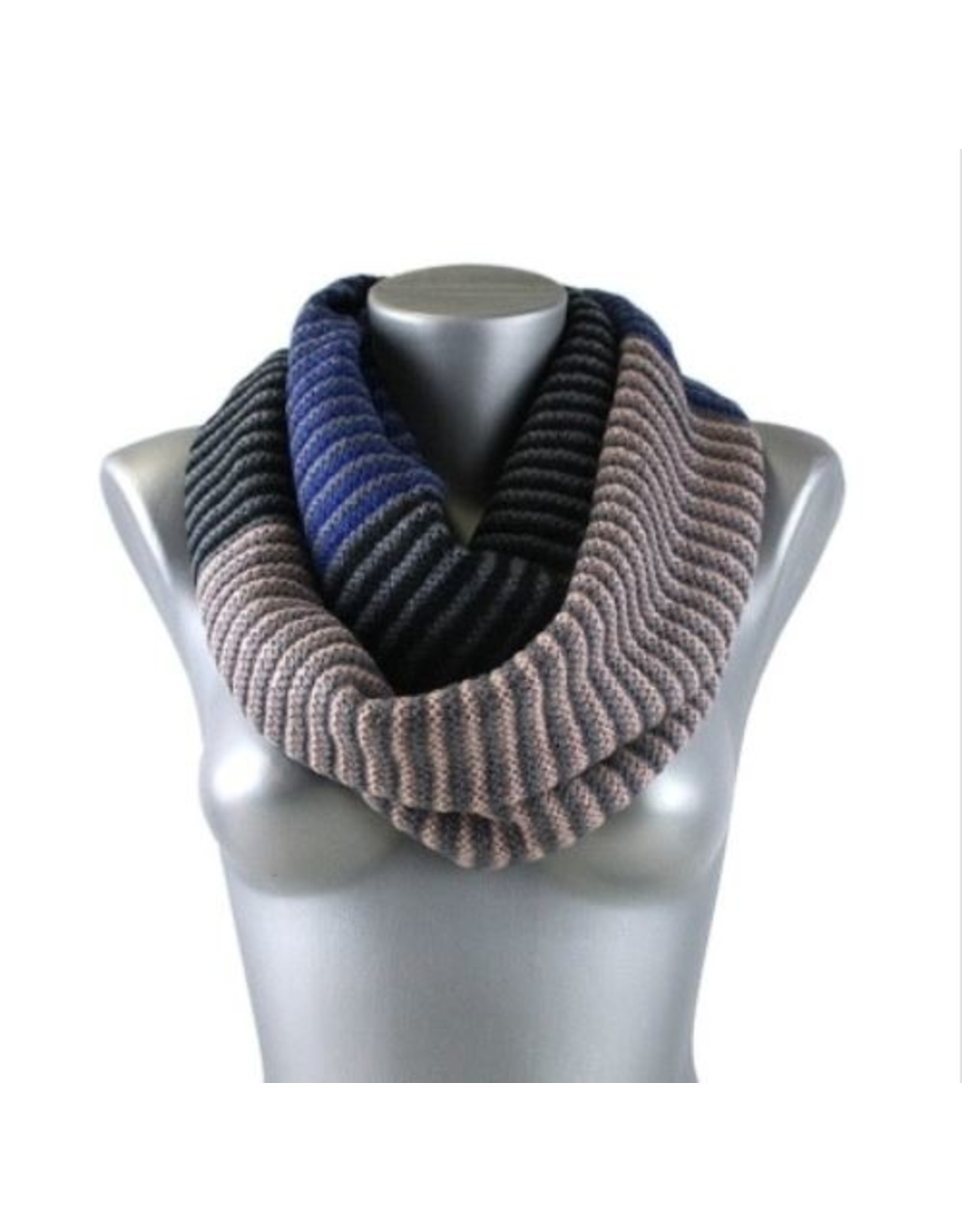 MULTI STRIPE INFINITY SCARF 18X70IN
