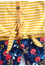 MUSTARD STRIPE FRONT TIE TOP + FLORAL LEGGINGS SET