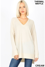 CREAM THERMAL WAFFLE KNIT VNECK SWEATER