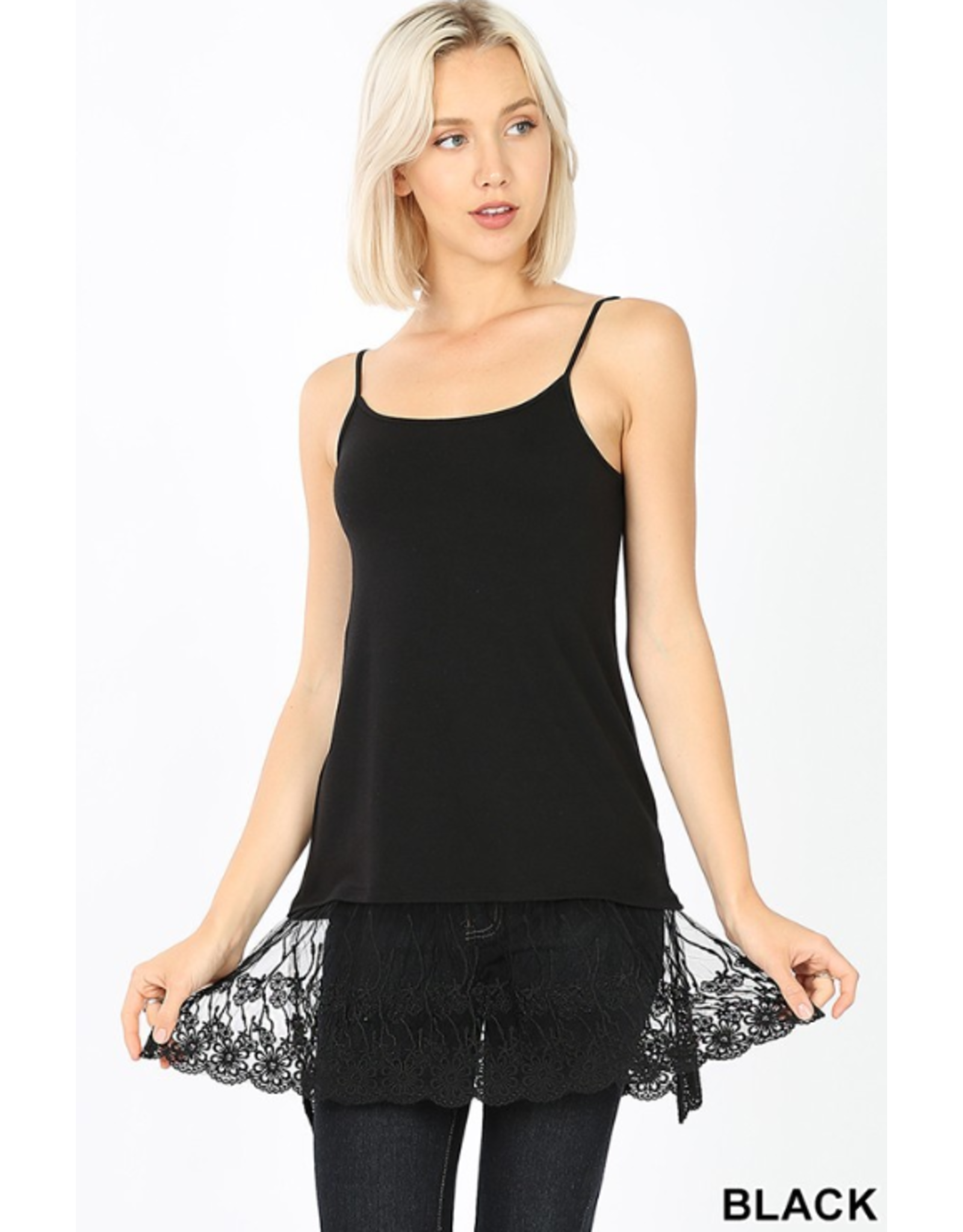 BLACK LONG LINE CAMI WITH LACE BOTTOM