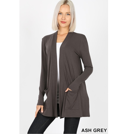 ASH GREY SLOUCHY POCKET OPEN CARDIGAN
