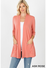 ASH ROSE SLOUCHY POCKET OPEN CARDIGAN