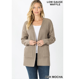 ASH MOCHA WAFFLE OPEN FRONT RELAXED FIT CARDIGAN
