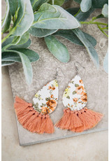 PEACH SPRING FLORAL EARRINGS