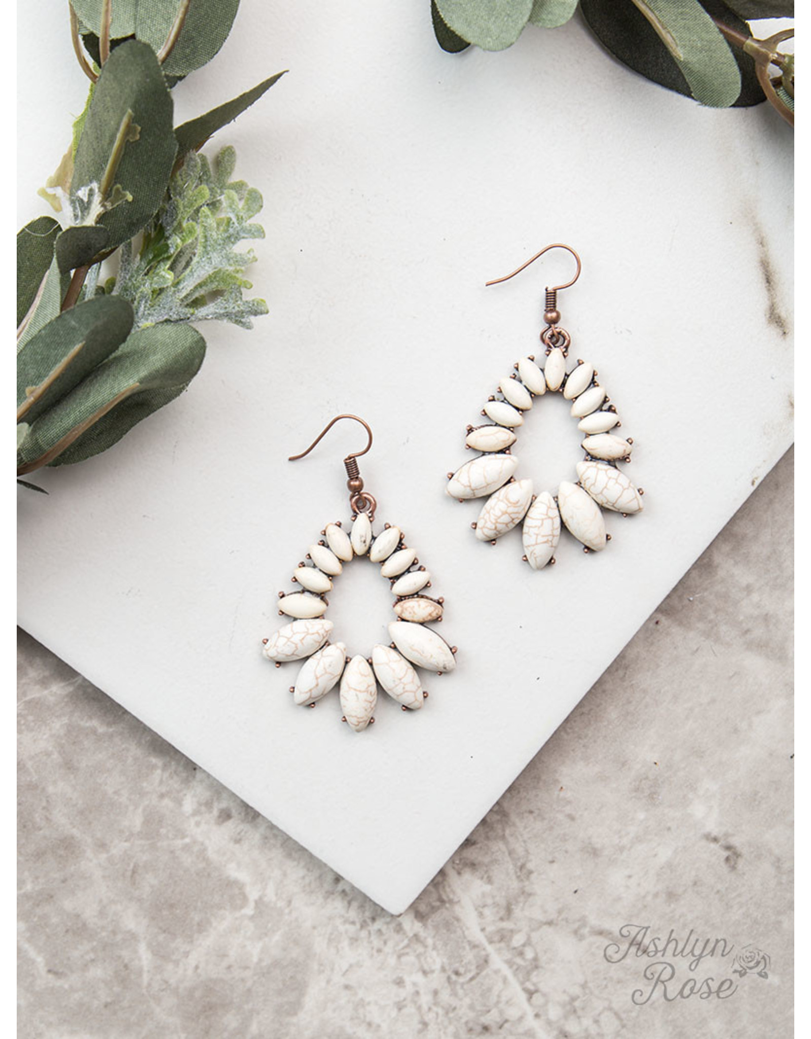 COPPER WHITE STONE TEARDROP EARRINGS