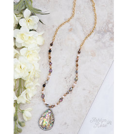 HYNOTIZE ME BEADED & CHAIN NECKLACE WITH STONE PENDANT