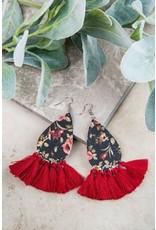 RED SPRING FLORAL EARRINGS
