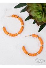 TANGERINE ALL SUMMER LONG BEADED HOOP EARRING