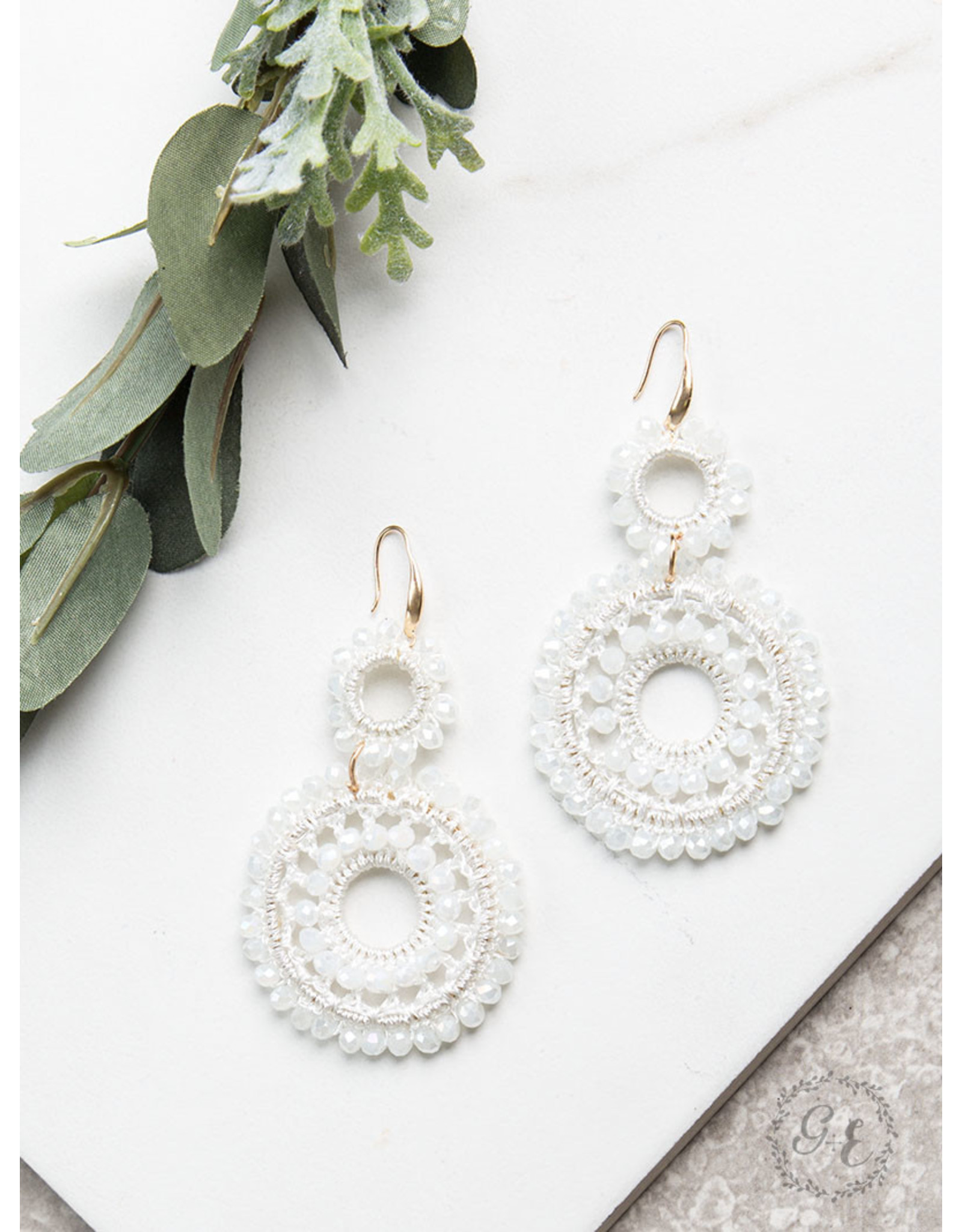 WHITE LONG WAY AROUND EARRINGS