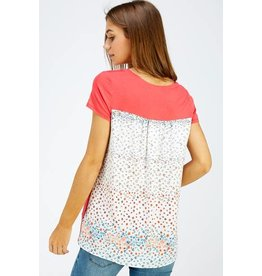 CORAL W/ IVORY FLORAL PRINT BACK SHORT SLEEVE TOP