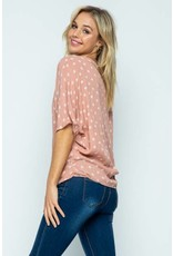 BLUSH / WHITE PRINT CROSSED FRONT TOP