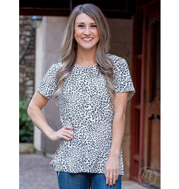 B/W DALMATIAN PRINT SHORT SLEEVE TOP WITH CAGE BACK