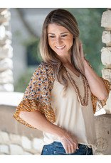 BEIGE V-NECK WITH FLORAL PRINT FLUTTER SLEEVE TOP
