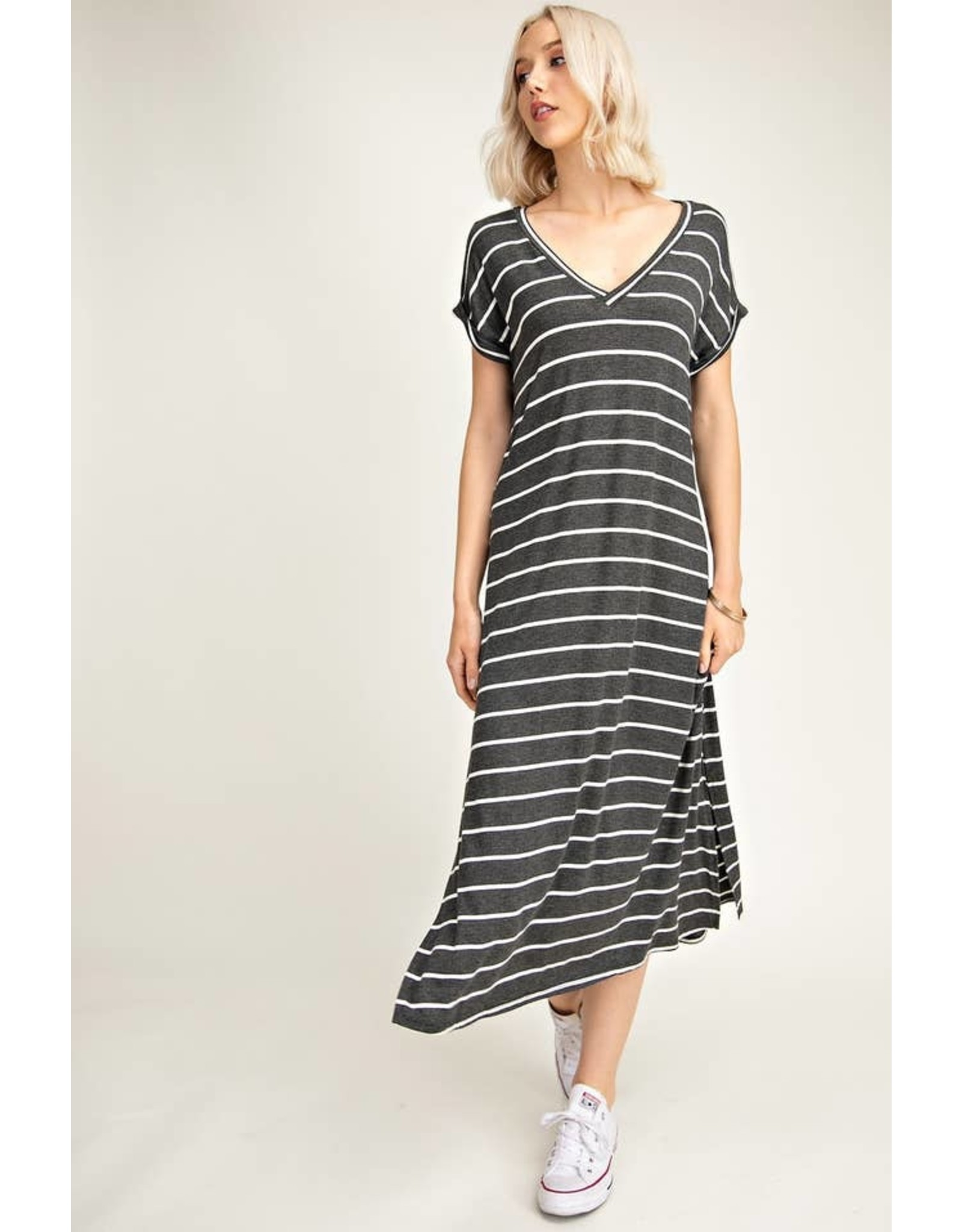 CHARCOAL / WHITE STRIPE V-NECK MIDI DRESS