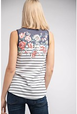 NAVY STRIPED SLEEVELESS TOP WITH FLORAL NECKLINE